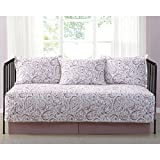 Watercolor Paisley Blush Printed 5-Piece Day Bed Set, Bedskirt Included