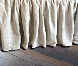 Linen Bedskirt, Natural Linen Bed Skirt, Natural Linen Bed Ruffles, Linen Dust Ruffle, Shabby Chic Bedding, Twin Bed Skirt, Queen Bed Skirt, King Bed Skirt, HANDMADE, FREE SHIPPING