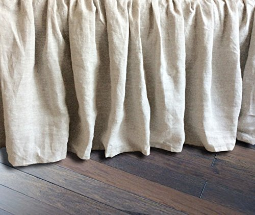Linen Bedskirt, Natural Linen Bed Skirt, Natural Linen Bed Ruffles, Linen Dust Ruffle, Shabby Chic Bedding, Twin Bed Skirt, Queen Bed Skirt, King Bed Skirt, HANDMADE, FREE SHIPPING Shabby Chic Shabby Bedskirt
