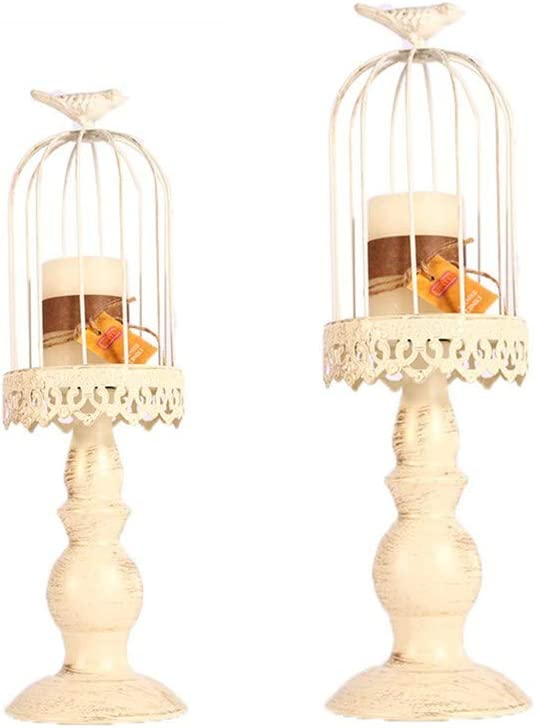 Ulalaza 2 Pcs Vintage Birdcage Candle Holder Iron Candlestick Candle Stand Dinner Table Ornaments