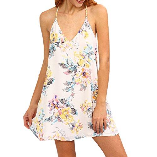 LOVOZO Women Sexy Sleeveless Flower Print Strappy Swing Cami Dress White