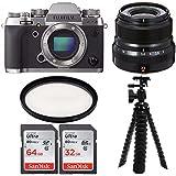 Fujifilm X-T2 Camera Body (Graphite Silver) & 23mm F2 R WR Lens W/Sandisk 64GB Essential Bundle