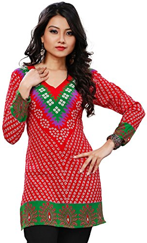 Womens India Tunic Top Kurti Printed Blouse Indian Clothing – S…Bust 34 inches, Red