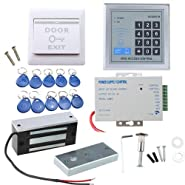 IMAGE Full set RFID Door Access Control system Kit With 60kg 130LBs Electric Magnetic lock 110-240V AC to 12v DC 3A 36w Power Supply Proximity Door Entry keypad 10 Key Fobs EXIT Button