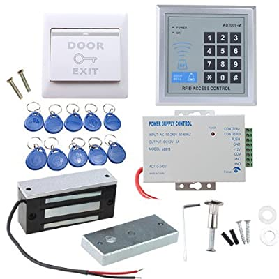 IMAGE Full set RFID Door Access Control system Kit With 60kg 130LBs Electric Magnetic lock 110-240V AC to 12v DC 3A 36w Power Supply Proximity Door Entry keypad 10 Key Fobs EXIT Button from BrainyTrade