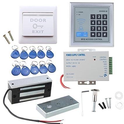 AGPTEK Sistema RFID de Control de Acceso de Puerta con Cerradura de Seguridad Electromagnética de 60kg