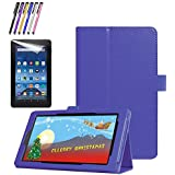 Mignova All-New Fire 7 2017 Case - Premium PU Leather Folio Stand Cover Case with Auto Wake/Sleep for All-New Fire 7 Tablet (7th Gen, 2017 Release)+ Screen Protector Film and Stylus Pen (Blue)