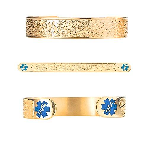 Divoti Custom Engraved Medical Alert Bracelets for Women, Stainless Steel Medical Bracelet, Medical ID Bracelet w/Free Engraving - Lovely Filigree Olive w/ 6