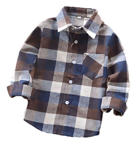 03 Poco Del Lungo Ragazzi Flanella Soojun Del Occidentale Manicotto Grandi Plaid Shirt rqr1P4