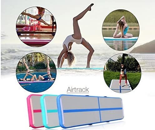 Green, 9.84/×3.28/×0.33//3/×1/×0.1m Foammaker Inflatable Tumbling Gymnastic Air Floor Mat Track Cheerleading for Home Use//Cheerleading//Beach//Park and Water
