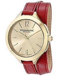 Stuhrling Original Women's 568.02 Leisure Soiree Deauville Sport Swiss Quartz Red Leather Wrap-Around Strap Watch