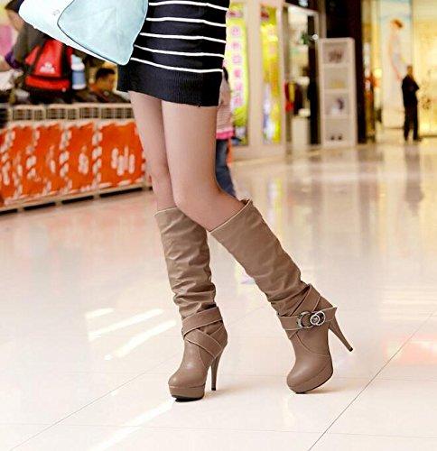 Frühling und Herbst hohen Absätzen Hohe Stiefel Damen Stiefel Gelb