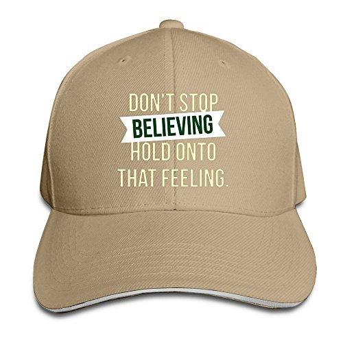 Runy Custom Dont Stop Believing Hold Used Adjustable Sanwich Hunting Peak Hat & Cap Natural