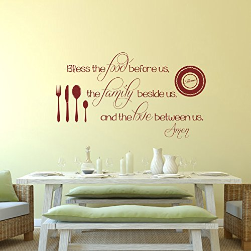 MairGwall Bless the Food before Us the Family Beside Us the Love Between Us Vinyl Wall Art Inspirational Sticker Quotes Bible Verse Wall Decor Art£¨X-Large,Blac