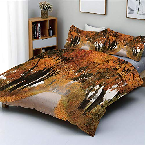Duplex Print Duvet Cover Set Full Size,Fall Season in Poland Road with Colorful Vibrant Maple Trees Serenity ThemeDecorative 3 Piece Bedding Set with 2 Pillow Sham,Orange Brown Green,Best Gift For Kid ()