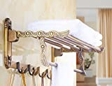 GGHYYO Bathroom Towel Holders Rack Shelf Retro Full Copper 60cm