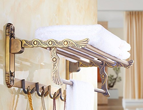 GGHYYO Bathroom Towel Holders Rack Shelf Retro Full Copper 60cm by GGHYYO Towel Rack (Image #1)