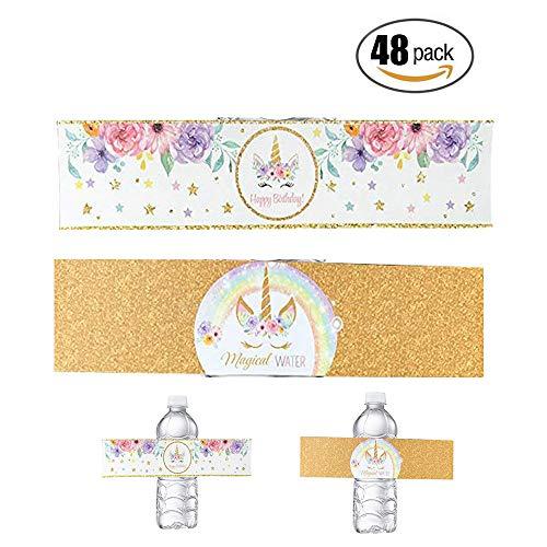 Unicorn Bottle Wraps, Waterproof Cup Stickers Happy Birthday Water Bottle Label Rainbow Unicorn Themed Party Favors, 48 ()
