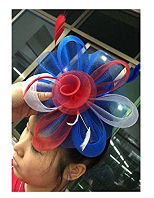 Ahugehome Red White Blue USA 4th of July Fascinator Headband Hair Clip Hat pom Tea Party