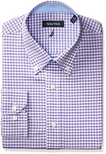 nautica-mens-gingham-buttondown-collar-dress-shirt-lilac-navy-165-neck-34-35-sleeve