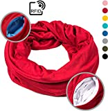 Ready+Steady - RFID Travel Scarf, Infinity Scarf, 2 Hidden Zipper Pockets (Red)