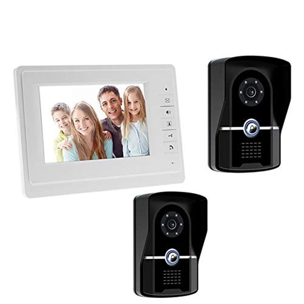Video doorbell Video Door Phone Doorbell Video Entry System Intercom Kit 2-Camera 1-Monitor TFT LCD Screen Unlock Night Vision  16 Ringtones Optional for Home Security7 Inch