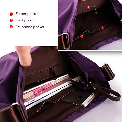 Fashion Multi Shoulder Bag HAUTE LA Backpack Purse Handbag Tote HAUTE Crossbody LA Function Elegant Bag Color Purple Black Women's Nylon tqqxSR6nv