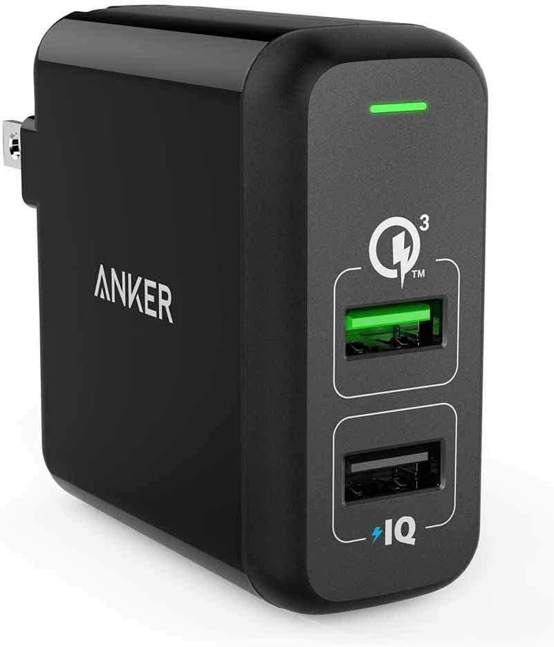 LG Nexus HTC and More iPad Pro//Air 2//Mini Anker Quick Charge 3.0 31.5W Dual USB Wall Charger Note 8//7 and PowerIQ for iPhone XS//Max//XR//X//8//7//6s//Plus PowerPort 2 for Galaxy S9//S8//S7//Edge//Plus