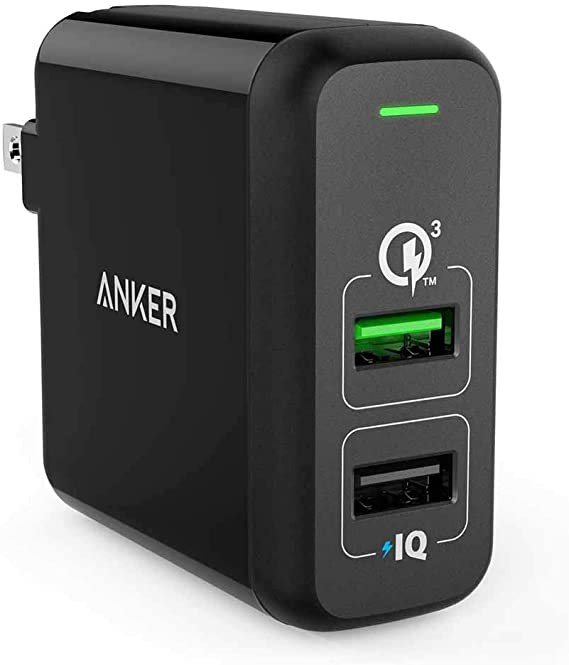Anker Quick Charge 3.0 31.5W Dual USB Wall Charger, PowerPort 2 for Galaxy S9/S8/S7/Edge/Plus, Note 8/7 and PowerIQ for iPhone ...