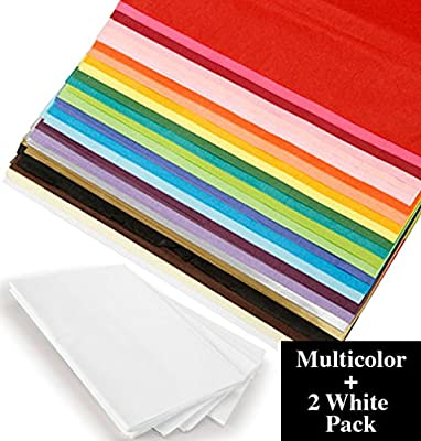Multi Color Wrapping Tissue Paper, Bulk 100 pack 20x26 Bundle with White Tissue 2 pack – for Gift Wrapping, DIY Arts and Crafts