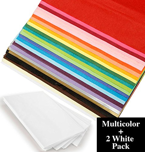 Multi Color Wrapping Tissue Paper, Bulk 100 Pack 20x26 Bundle with White Tissue 2 Pack – for Gift Wrapping, DIY Arts and Crafts by Darice
