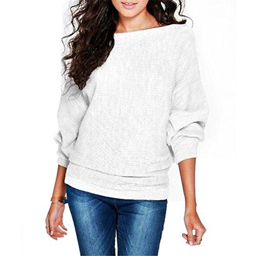 haoricu Women Blouse, Women Batwing Sleeve Knit Sweater Pullover Loose Jumper Tops Knitwear (M, White)