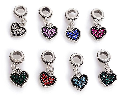 Heart Bracelet Connector - Yeshan 8pcs Crytal Rhinestone Connector Bails with Heart Pendant beads Fits Snake Chain Charm Bracelet-mix Colors