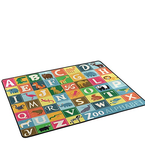 Distressed Zoo Animals Alphabet Educational Design Area Rug Pad Non-Slip Kitchen Floor Mat for Living Room Bedroom 31