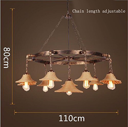Onfly American Iron Art Hemp Rope Chandeliers Pendant Lamp Retro Industrial Style 7/9/10 Head Led Downlight Bar/cybercafeHall/Clothing Store Creative Personality Lamps(Without Bulb) (Style : 9 heads)