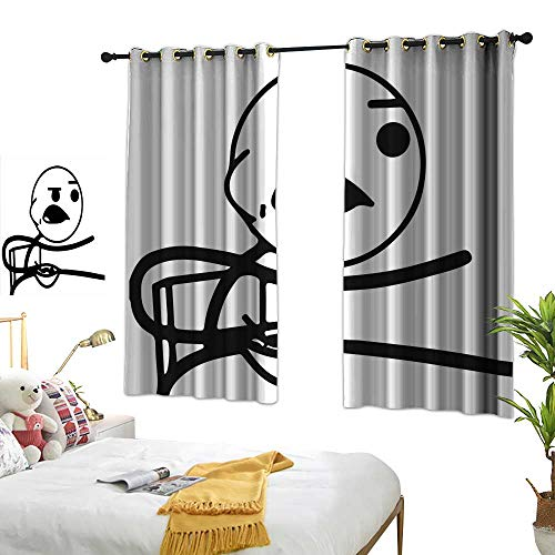 Door Curtain Humor,Funny Stickman on The Table with Grumpy Forever Alone Facial Expression Design,Black and White 72
