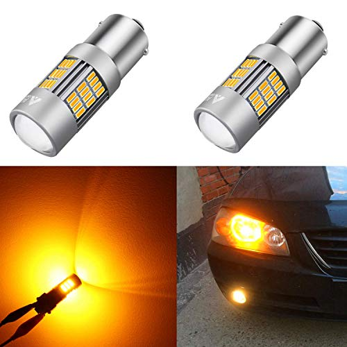 Alla Lighting 54-SMD 1156 7506 BA15S Newest Version High Power 4014 Chipsets Amber Yellow Xtremely Super Bright Turn Signal Blinker Light LED Bulbs Replacement ()