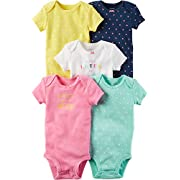 Carter's Baby Girls' 5-Pack Multi Dot Bodysuits 12 Months
