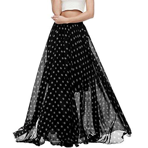 Wicky LS - Falda - plisado - para mujer negro (lunares)