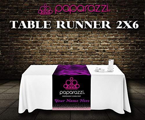 - Paparazzi Table Runner - Imprint -Zebra Stripe Pattern Background Logo Size 2ft x 6ft Custom Logo