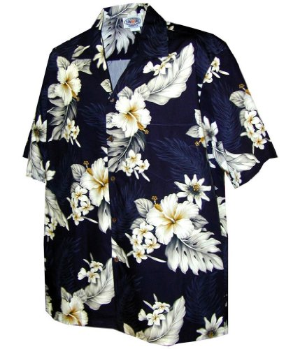 Pacific Legend Tropical Floral Hibiscus and Plumeria Hawaiian Shirt (M, Navy) ()