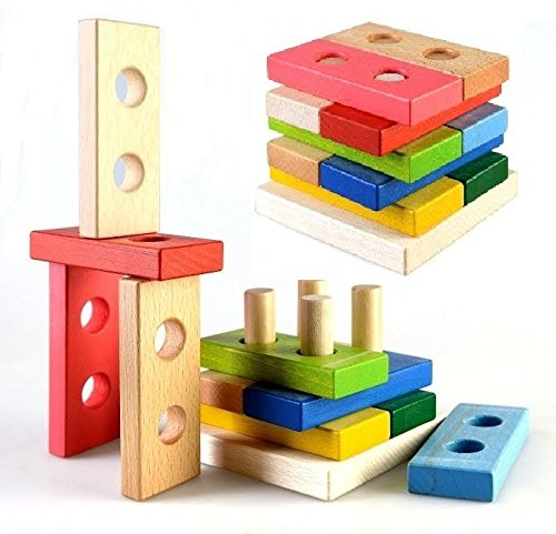 Wooden Stacking Pyramid and Baby Funny Specialty Learn & Play Developing Toys for Children Over 12 Months (Puzzle Pyramid Wood)