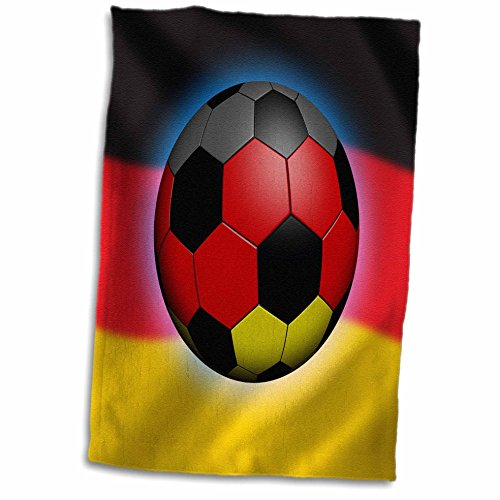 3D Rose Germany Soccer Ball Concept German Flag Banner Waving National Country Towel, 15'' x 22'' by 3dRose