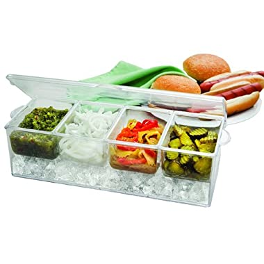 Perlli Chilled Condiment Server on ice with 4 Removable Containers Serving tray