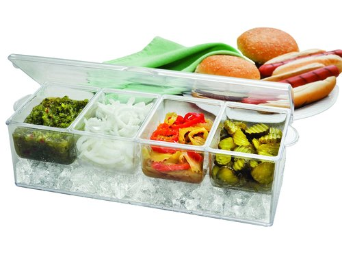 Perlli Chilled Condiment Server on ice with 4 Removable Containers Serving - Condiment Hot Dog
