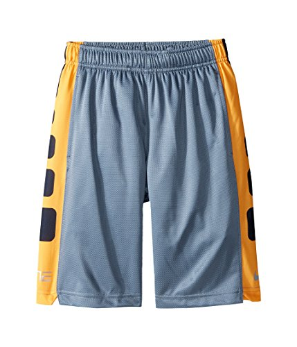 Price comparison product image Nike Elite Striped Basketball Shorts Boys Cool Grey/Vivid Orange/Metallic Silver (LG (14-16 Big Kids) X One Size)