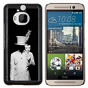 YiPhone /// Prima de resorte delgada de la cubierta del caso de Shell Armor - Negro Hombre Blanco Disfraz Embrujado - HTC One M9Plus M9+ M9 Plus