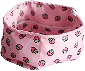 CheeseandU Dog Cooling Bandana, Pet Dog Adjustable Ice Chill Out Collar Scarf Silk Cotton Pet Cooling Collar with 4/5 Ice Packs for Summer, Strawberry