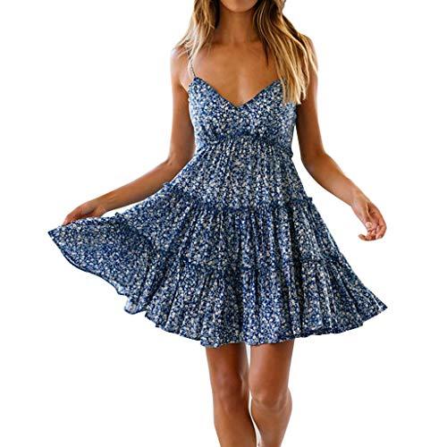 (Women Summer Halter Deep V Neck Sexy Ruffle Mini Short Dresses By)