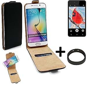 TOP SET: Caso Smartphone para Allview V2 Viper i4G cubierta del estilo del tirón 360°, negro + anillo protector, cubierta del tirón - K-S-Trade (TM)